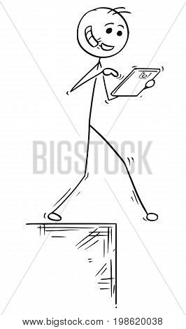 Cartoon vector illustration of stick man walking with handsfree hands-free and tablet and falling down