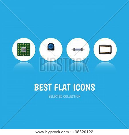 Flat Icon Appliance Set Of Resistor, Transducer, Unit And Other Vector Objects