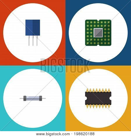 Flat Icon Electronics Set Of Unit, Microprocessor, Receptacle And Other Vector Objects