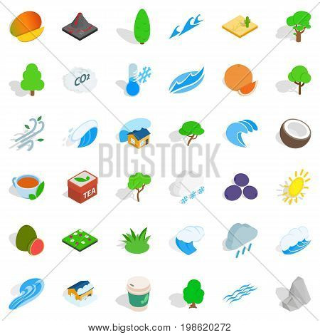 Garden tree icons set. Isometric style of 36 garden tree vector icons for web isolated on white background
