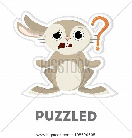 Isolated puzzled rabbit with question mark on white background.