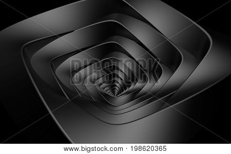 Abstract beautiful creative background concept of optical illusion of gently twisting dark gray spiral intricately curved from rhombuses with rounded edges at angle funnel infiniti. 3d Render