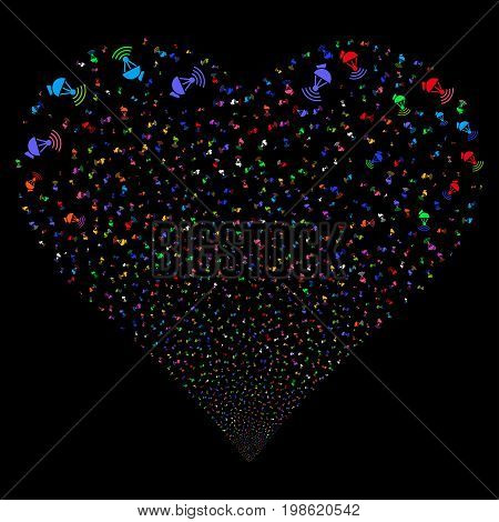 Radio Transmitter fireworks with heart shape. Vector illustration style is flat bright multicolored iconic symbols on a black background. Object heart created from scattered icons.