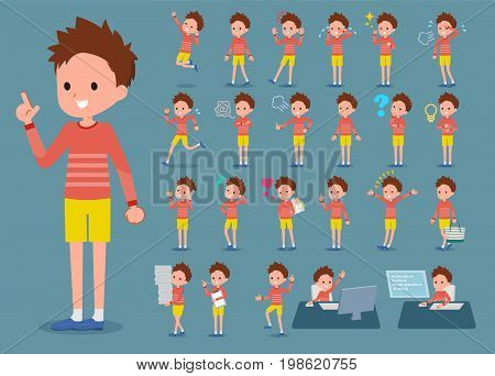 Flat Type Red Clothing Short Hair Boy_1