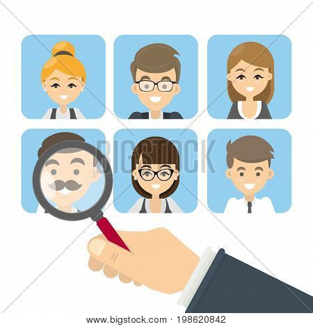 Search for candidates. Set of images of employees. Hand with magnifying glass.