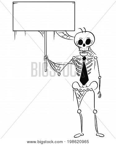 Cartoon illustration of human skeleton of dead businessman clerk; salesman or manager holding an empty sign.