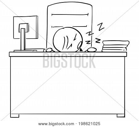 Cartoon illustration of stick man businessman manager or businessman or politician sleeping at his office on the desk table.