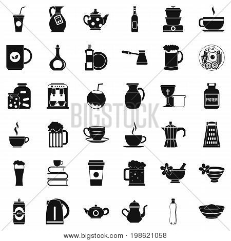 Dinnerware icons set. Simple style of 36 dinnerware vector icons for web isolated on white background
