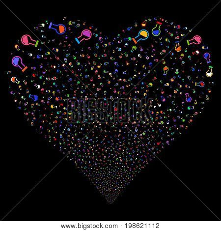 Retort fireworks with heart shape. Vector illustration style is flat bright multicolored iconic symbols on a black background. Object valentine heart constructed from confetti pictographs.