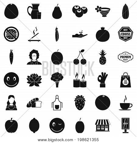 Vegetarian cook icons set. Simple style of 36 vegetarian cook vector icons for web isolated on white background