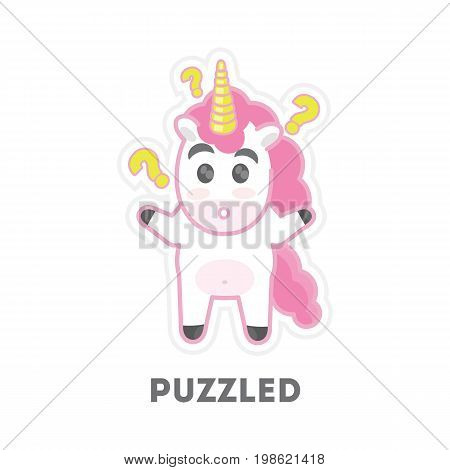 Isolated puzzled unicorn with question mark on white background.