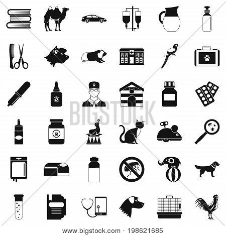 Veterinary illness icons set. Simple style of 36 veterinary illness vector icons for web isolated on white background