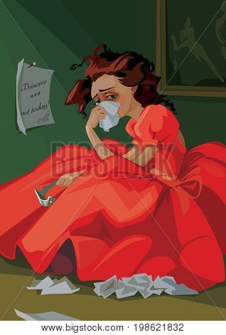 Digital vector funny comic cartoon fairytale red dress princess with crown crying at a ball and throwing away letters, not today, abstract realistic flat style