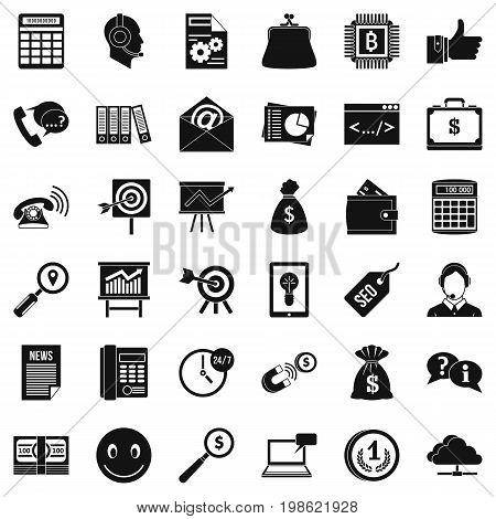 Marketing in Internet icons set. Simple style of 36 marketing in Internet vector icons for web isolated on white background