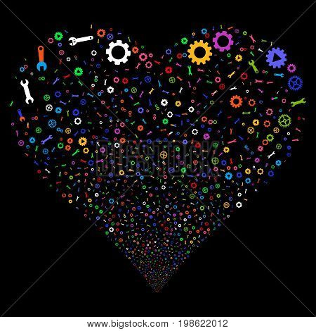 Setup Tools fireworks with heart shape. Vector illustration style is flat bright multicolored iconic symbols on a black background. Object stream made from scattered pictographs.