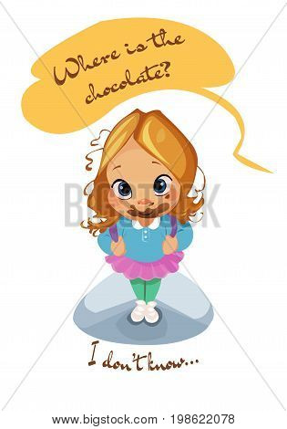 Digital vector funny comic cartoon pupil kid girl mouth full of dessert, i do not know where is the chocolate, dirty face, abstract realistic flat style