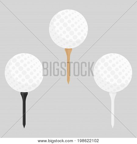 Black, wooden and white golf tees set with ball vector illustration