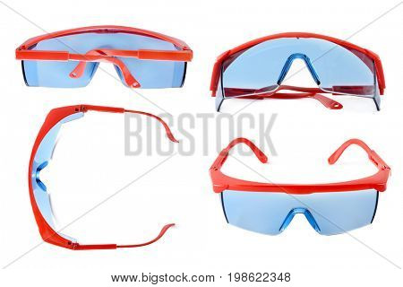 Set safety glasses for construction, medicine, lab. Goggles isolated on white background. View from different angles.