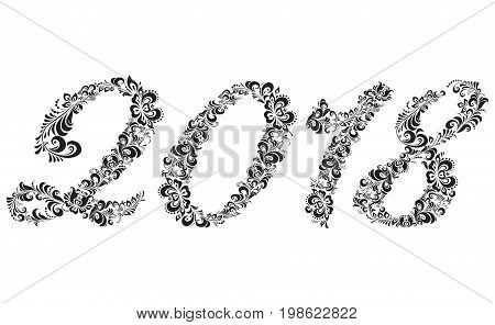 Black and white numbers. 2018 Happy New Year. Holiday banner. Vector illustration. Khokhloma. Leaf pattern with swirls. National Russian art. Floral design.