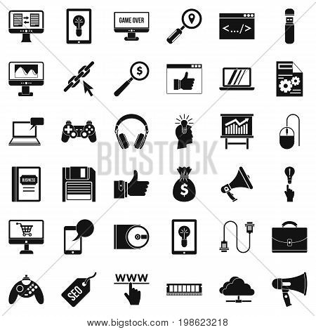 Web page icons set. Simple style of 36 web page vector icons for web isolated on white background
