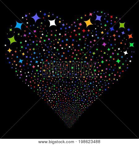 Sparcle Star fireworks with heart shape. Vector illustration style is flat bright multicolored iconic symbols on a black background. Object valentine heart combined from random design elements.