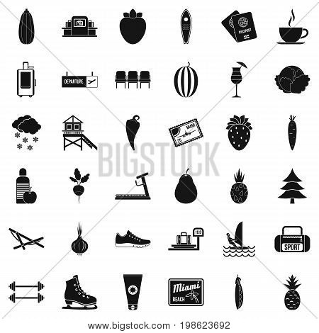 Wellness loss icons set. Simple style of 36 wellness loss vector icons for web isolated on white background