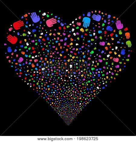 Stop Hand fireworks with heart shape. Vector illustration style is flat bright multicolored iconic symbols on a black background. Object heart done from scattered symbols.