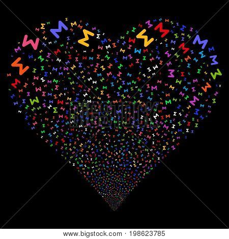 Sum fireworks with heart shape. Vector illustration style is flat bright multicolored iconic symbols on a black background. Object stream created from scattered pictographs.
