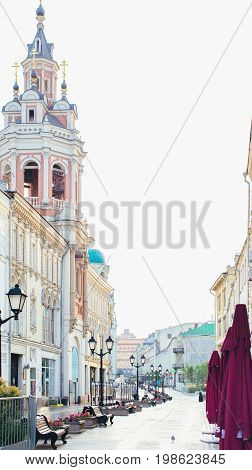Russia Moscow Nikolskaya street - summer 2017 - Early morning in Moscow. Morning in the city empty streets