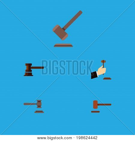 Flat Icon Court Set Of Defense, Law, Government Building And Other Vector Objects