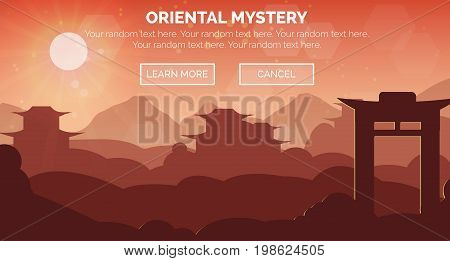 Illustration of an evening dask oriental chinese zen landscape scene, ancient buildings, buddist pagoda, gate, hills and mountains. Web header banner template.