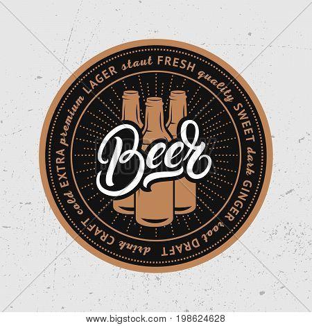 Beer hand written lettering. Coaster for beer, bierdeckel, beermat for bar, pub, beerhouse. Vector Illustration.