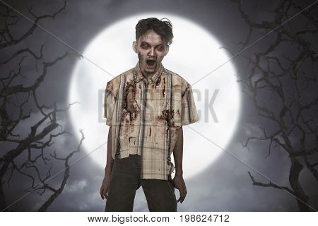 Spooky And Bloody Asian Zombie Man With Mad Face