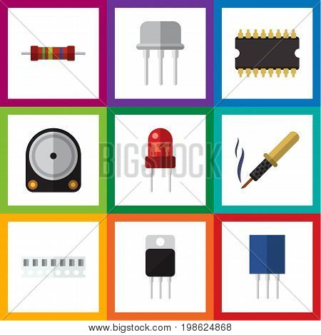 Flat Icon Technology Set Of Microprocessor, Receptacle, Recipient And Other Vector Objects