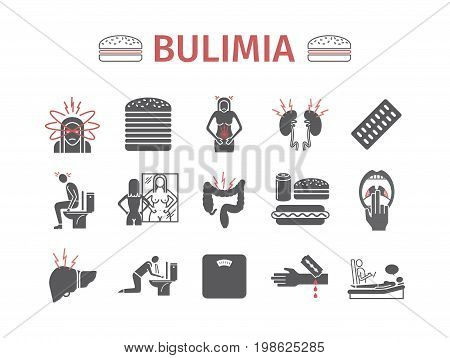 Bulimia. Symptoms, Treatment. Icons set Vector signs for web graphics