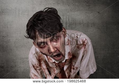 Portrait Of Scary Asian Zombie With Wounded Face