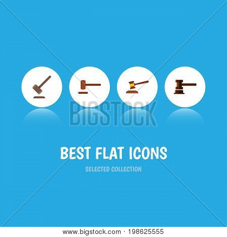 Flat Icon Court Set Of Defense, Tribunal, Government Building And Other Vector Objects