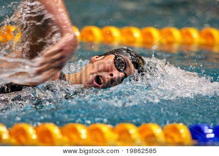 VIENNA, AUSTRIA - MARCH 1: National indoor swimming championship: Florian Janestyn wins the men's 800m freestyle event March 1, 2009 in Vienna, Austria.