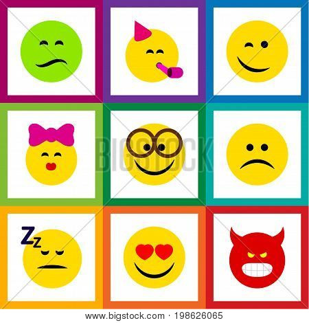 Flat Icon Expression Set Of Love, Sad, Caress And Other Vector Objects