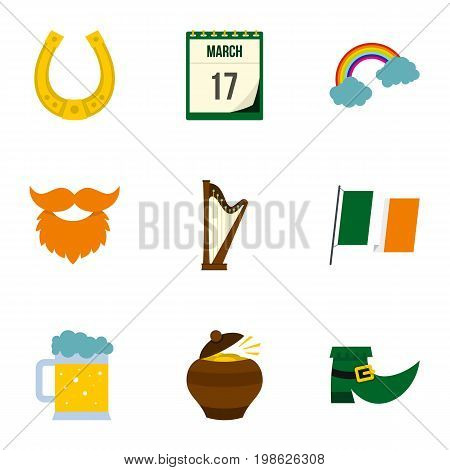 Irish holiday Patrick icon set. Flat style set of 9 irish holiday Patrick vector icons for web isolated on white background