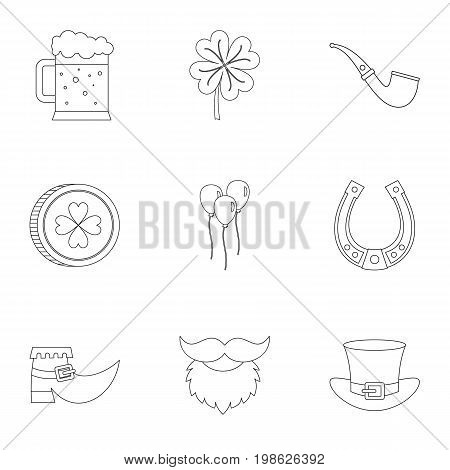 Happy St Patricks day icon set. Outline style set of 9 happy st Patricks day vector icons for web isolated on white background