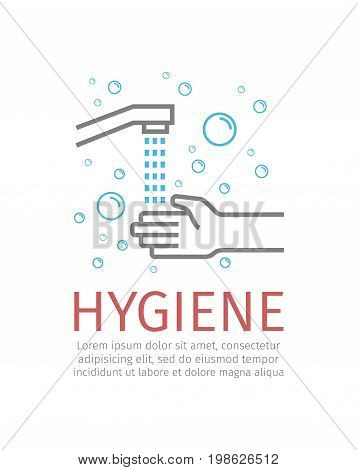 Hygiene. Wash hands. Vector icon for web graphic
