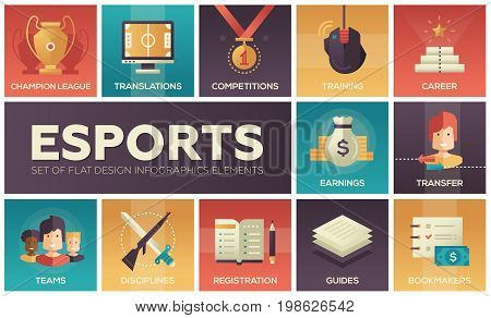 Esports - modern vector flat design icons set. News, player registration, parties, guides, training, transfer, earnings, competitions, champion, bookmakers, sponsors