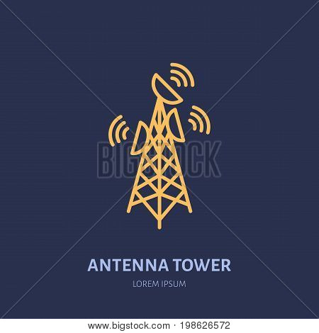Satellite dish tower flat line icon. Wireless technology, wifi signal sign. Vector illustration of interner connection.