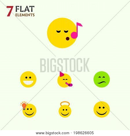 Flat Icon Gesture Set Of Frown, Have An Good Opinion, Descant And Other Vector Objects