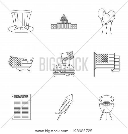 USA patriotic holiday icon set. Outline style set of 9 independence day vector icons for web isolated on white background