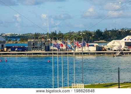 Six International Flags in the Bermuda Harbor