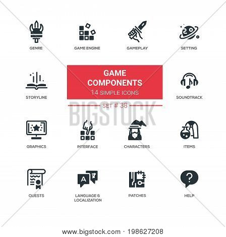 Computer Game Components - modern vector line icons, pictograms set. Genre, engine, setting, gameplay, storyline, soundtrack, graphics, interface character item quest language localization, patch, help