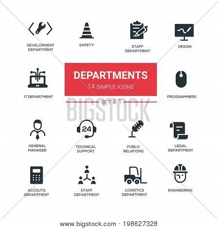Office departments - line design icons, pictograms set. IT, general manager, accounting, tech support, head, hr, development, safety, public relations, programmers, legal, logistics, engineering