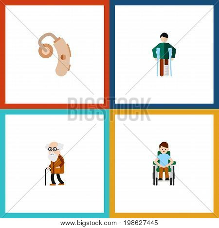 Flat Icon Cripple Set Of Disabled Person, Injured, Audiology And Other Vector Objects